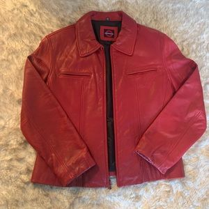 Red leather jacket by Underground